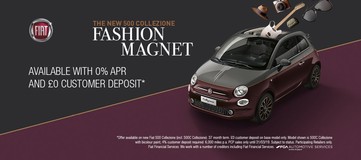 The New Fiat 500 Collezione available with 0% APR and £0 Customer Deposit*