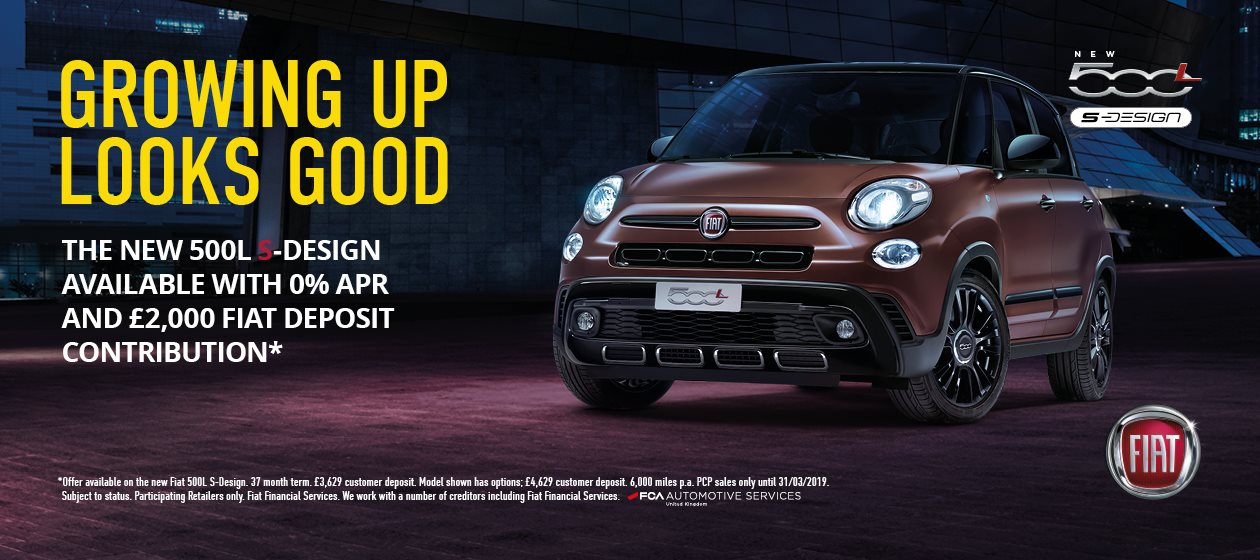 The New 500L S-Design available with 0% APR £2,000 Fiat Deposit Contribution*