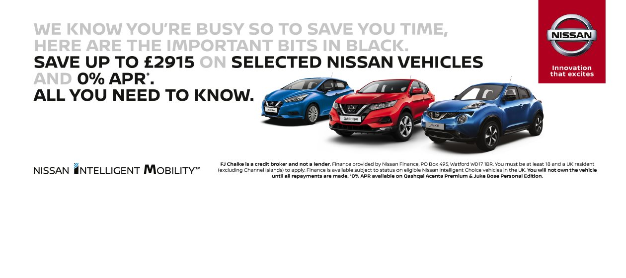 Selected Nissan vehicles are available at 0% APR at FJ Chalke