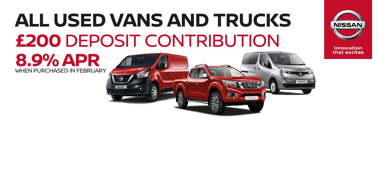 All used vans and trucks at FJ Chalke £200 deposit contribution