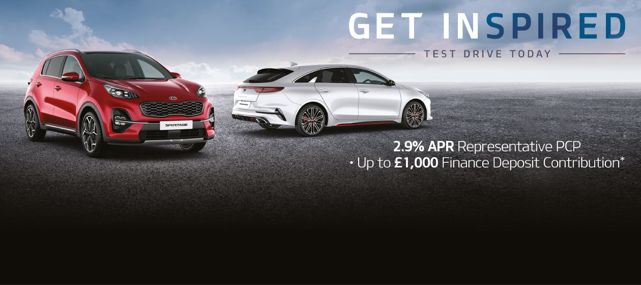 Test Drive a new Kia with 2.9% APR Representative PCP and up-to £1,000 Finance Deposit Contribution