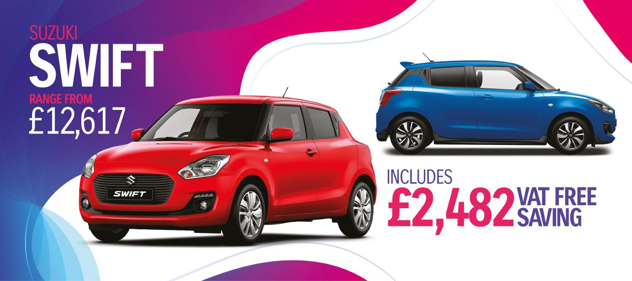 Take fun to the next level with our fantastic VAT FREE OFFER across the Swift range plus exclusive to Vale Motors £300 cashback* with a Suzuki part exchange