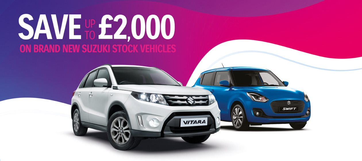 Save upto £2,000 on brand new Suzuki Stock Vehicles