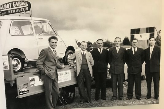 >Mere Carnival float. L to R: David Chalke, Derek Fricker, Frank Hurst, Derick Lampard, George Bowering and Roy Knox
